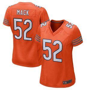 NEW NFL Women's 52# Khalil Mack Nike Orange jersey